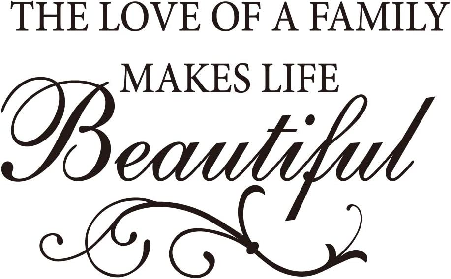 ZSSZ The Love of A Family Makes Life Beautiful Vinyl Wall Decal Inspirational Quotes Art Lettering Saying Motto Home Decor