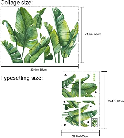 Creative Murals Paper for Decor Girls Boys Kids Nursery Baby Home Living Room Bedroom Kitchen 33.4 x 21.6 inch Green Plants Wall Stickers Removable PVC Fresh Leaves Stick Wall Decals