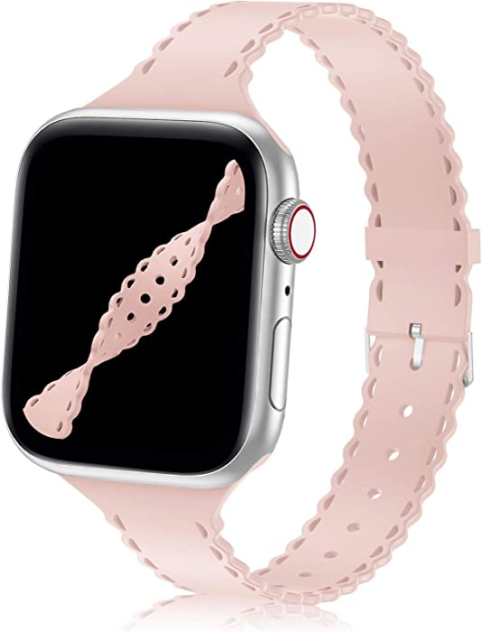 YAXIN Watch Band Compatible with Apple Watch Band 38mm 40mm iWatch Bands Slim Thin Sport Soft Silicone Wristband Strap Compatible for iWatch Series 6 5 4 3 2 1 SE Women,Pink Sand