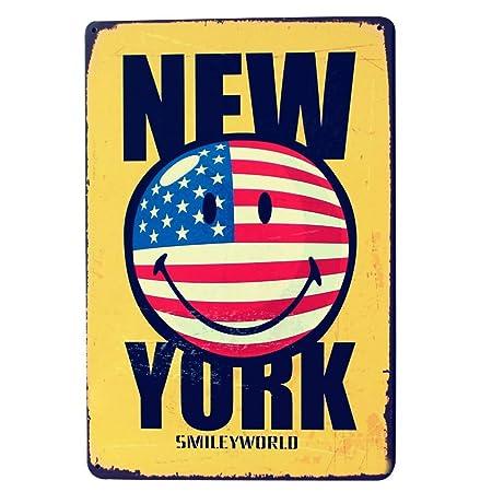 BORJOR New York Smile -Cartel de Pared estaño Placa Metal ...