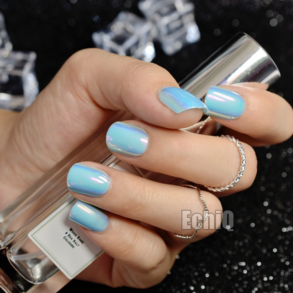 Abalone Chrome Fake Nails Mirror Chameleon Short Acrylic Nails Beautiful Lake Blue DIY Nail Tips with