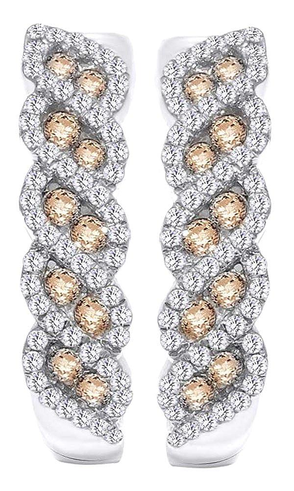 0,7 Karat Rundschliff Weißszlig; & Champagner natürlicher Diamant Fashion Ohrringe in 14 ct 585 Massiv Weißszlig; Gold 14 Karat (585) WeißGold
