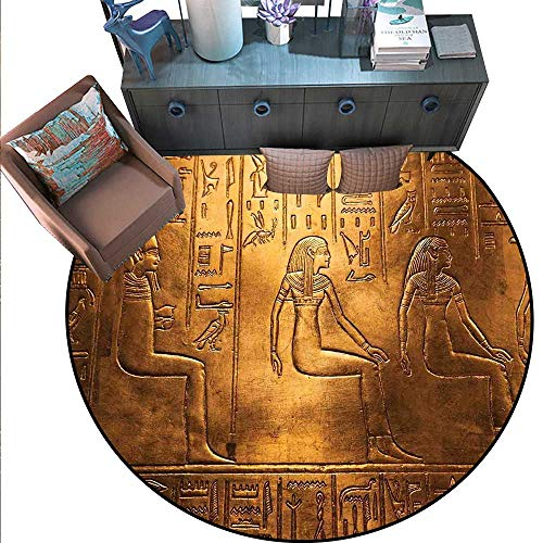 - Egyptian Round Rug Kid Carpet Egyptian Hieroglyphics Old Texts Logographic and Antique Alphabetic Elements Circle Rugs for Living Room (6'6