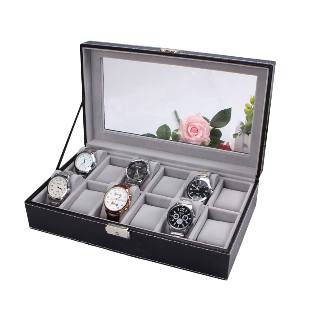 HUALING Uhrenbox fÜr Herren 12 Slot PU Watchcase Leder Box Box Watch Jewelry Box