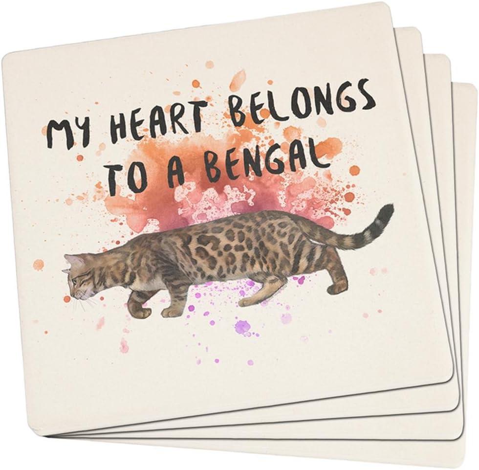 My Heart Belongs Bengal Cat Set of 4 Square Sandstone Coasters