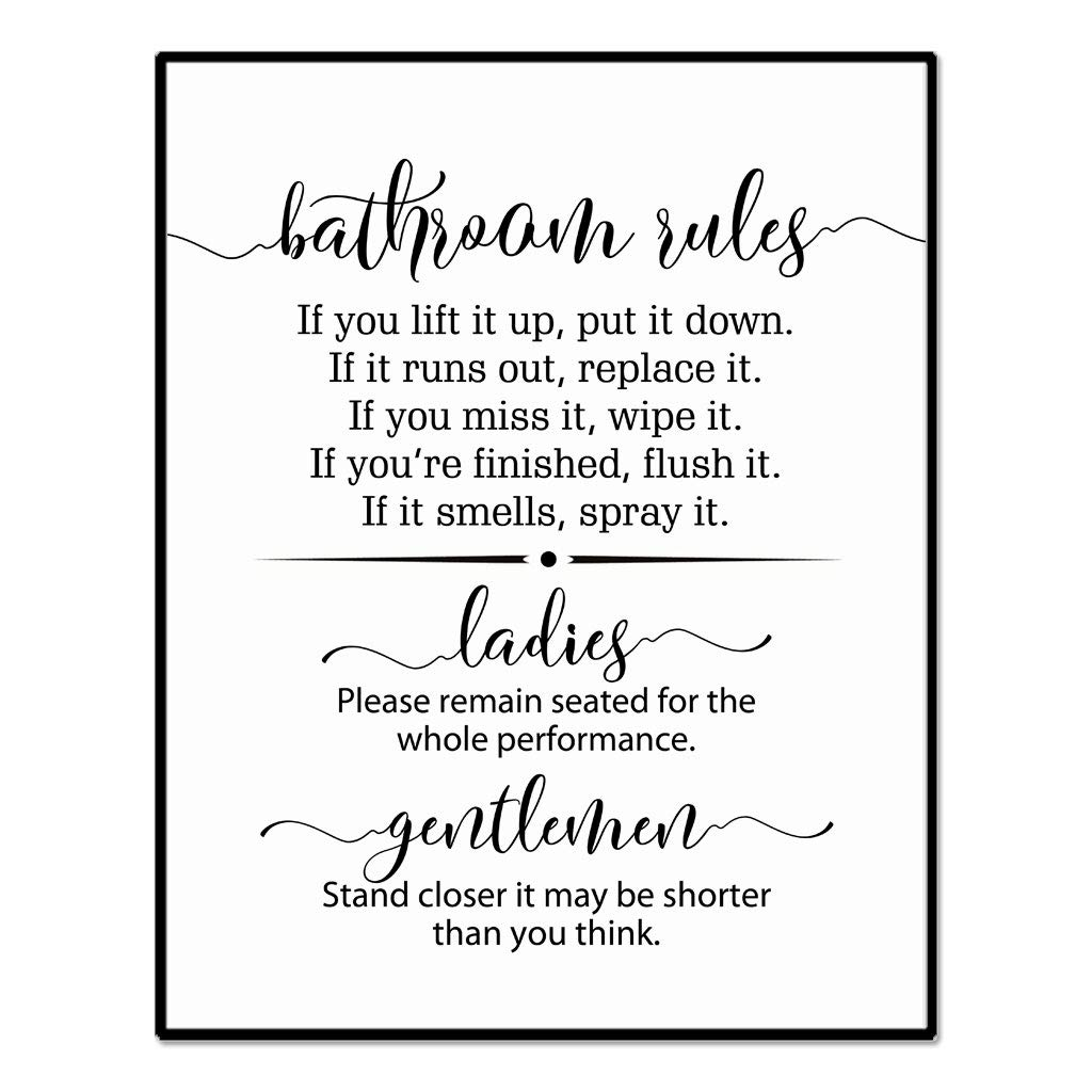 Bathroom Rules Sign, Bathroom Wall Decor, Funny Bathroom Sign, Flush the Toilet, Toilet Sign, Guest Bathroom Sign, Please Remain Seated, 8 x 10 Inches Unframed