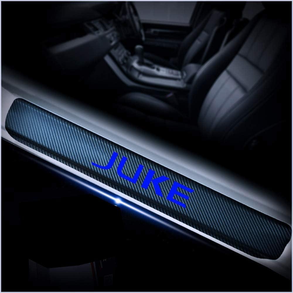 L/&U 4 Pezzi in Fibra di Carbonio 4D Sportello dauto davanzale Riflettente Protector Entrata Guardia dello Scuff del davanzale Adesivi a Piastre di Nissan Juke,Blu