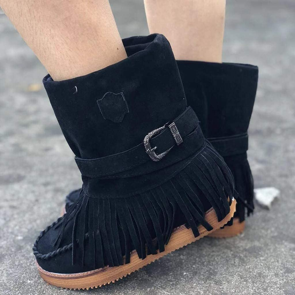 Pongfunsy Womens Boots Ladies Fashion Casual Round Toe Rome Retro Fringe Short Ankle Boots Flat Shoes