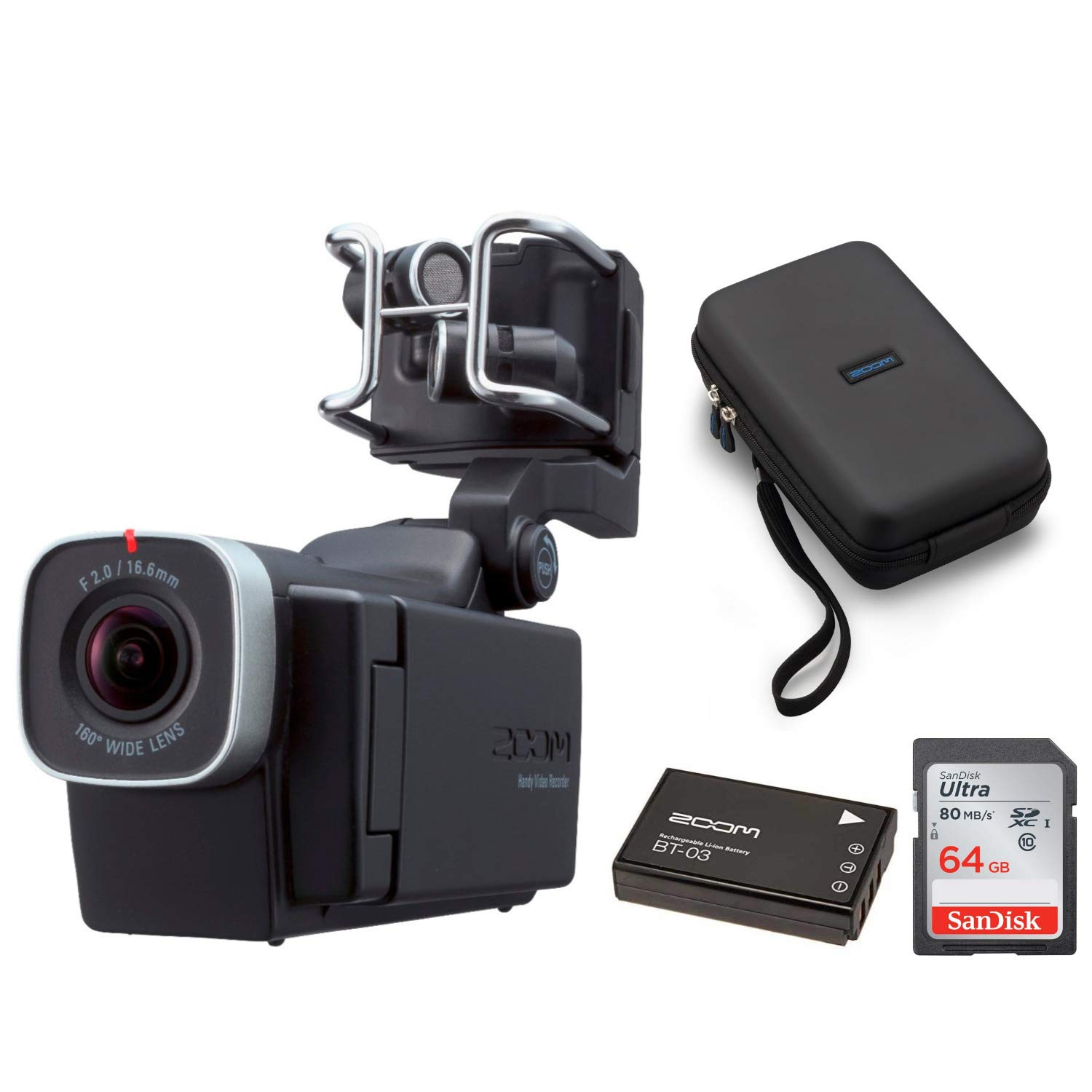 Zoom Q8 Handy Video Recorder w/SCQ-8 Carrying Case, 64GB SD Card,BT-03 Battery Bundle by Zoom