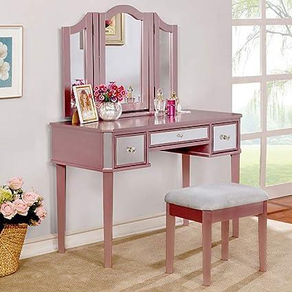 Cool Benzara Bm122841 Contemporary Vanity With Stool Rose Gold Spiritservingveterans Wood Chair Design Ideas Spiritservingveteransorg