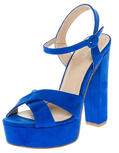 6c6cced7d6214 CALICO KIKI Women's Buckle Ankle Strap Open Toe Chunky High Heel ...