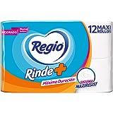 Papel Higiénico Rinde Más; Nuevo Sistema Maxiresist para una Máxima Duración; Marca Regio; 12 Rollos