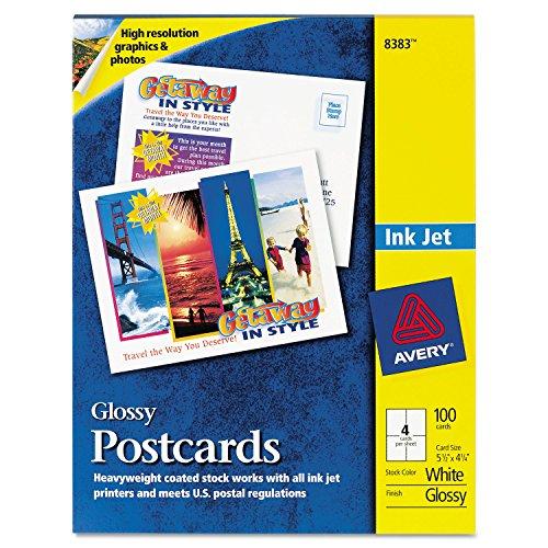 (Avery 8383 Photo-Quality Glossy Postcards for Inkjet Printers, 4 1/4 x 5 1/2, White, 100/Pk)