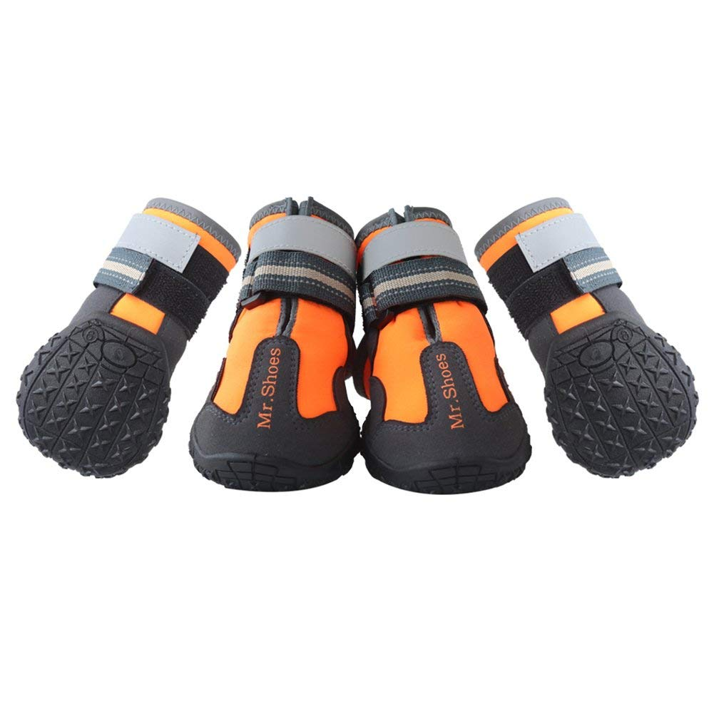 MR-BABULA Dog Shoes, Outdoor Mountaineering Waterproof Anti-Skid, relective Banded Dog Boots(Orange,Size 4/5/6) by MR-Babula