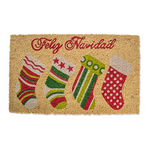 Natural Coir Coco Fiber Non-Slip Outdoor/Indoor Christmas Doormat, 18x30