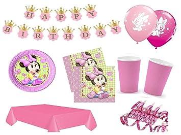 XXL Set Decoración Fiesta Primer Cumpleaños Minnie Baby ...