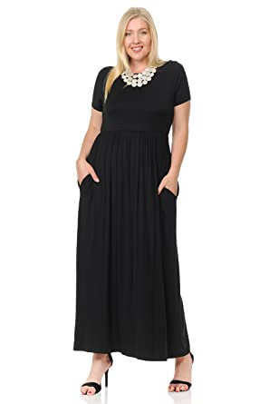 6fbe29f8733 Pastel by Vivienne Women s Short Sleeve Maxi Dress with Pockets in Plus  Size X-Large