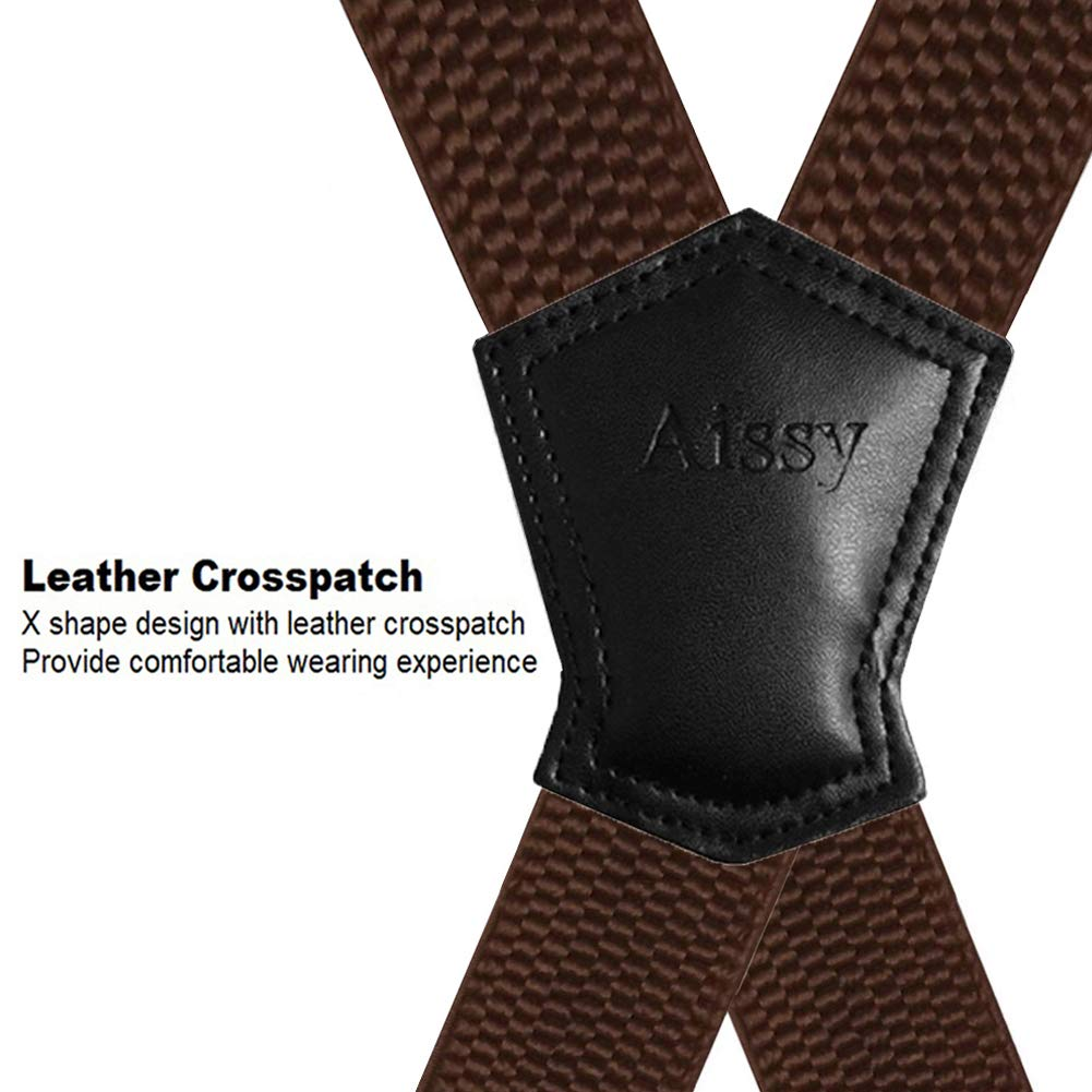 Aissy men braces 4cm 1.5inch X Shape Elastic and Adjustable Trouser Suspenders with 4 Strong Metal Clips for men and Women