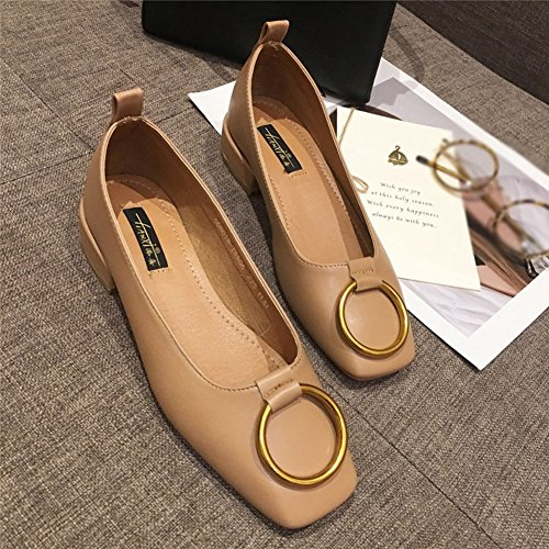 Loafers Square Women's On Toe Shoes Official Penny Heel Moccasins Comfy Low Khaki Modern Slip wUdnTU1q