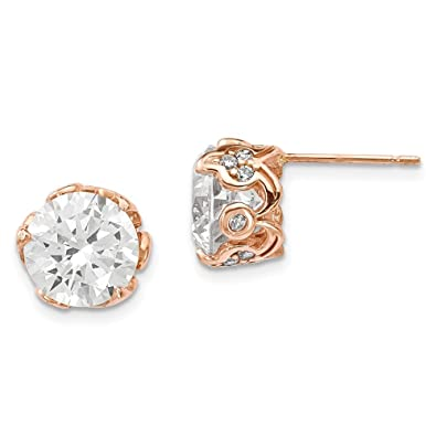 e61968b57 Amazon.com: Stud Earrings Polished Solid 8.79 mm 8.83 mm 10K Rose Gold  Tiara Collection CZ Post Earrings: Jewelry