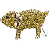 MANZHEN Pig Hog Farm Animal Brooch Yellow Crystal Fashion Jewelry Pin & Brooches for Women
