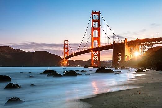 Golden Gate Bridge Blue Dawn Art Panorama Canvas Wall Art Picture Home Decor