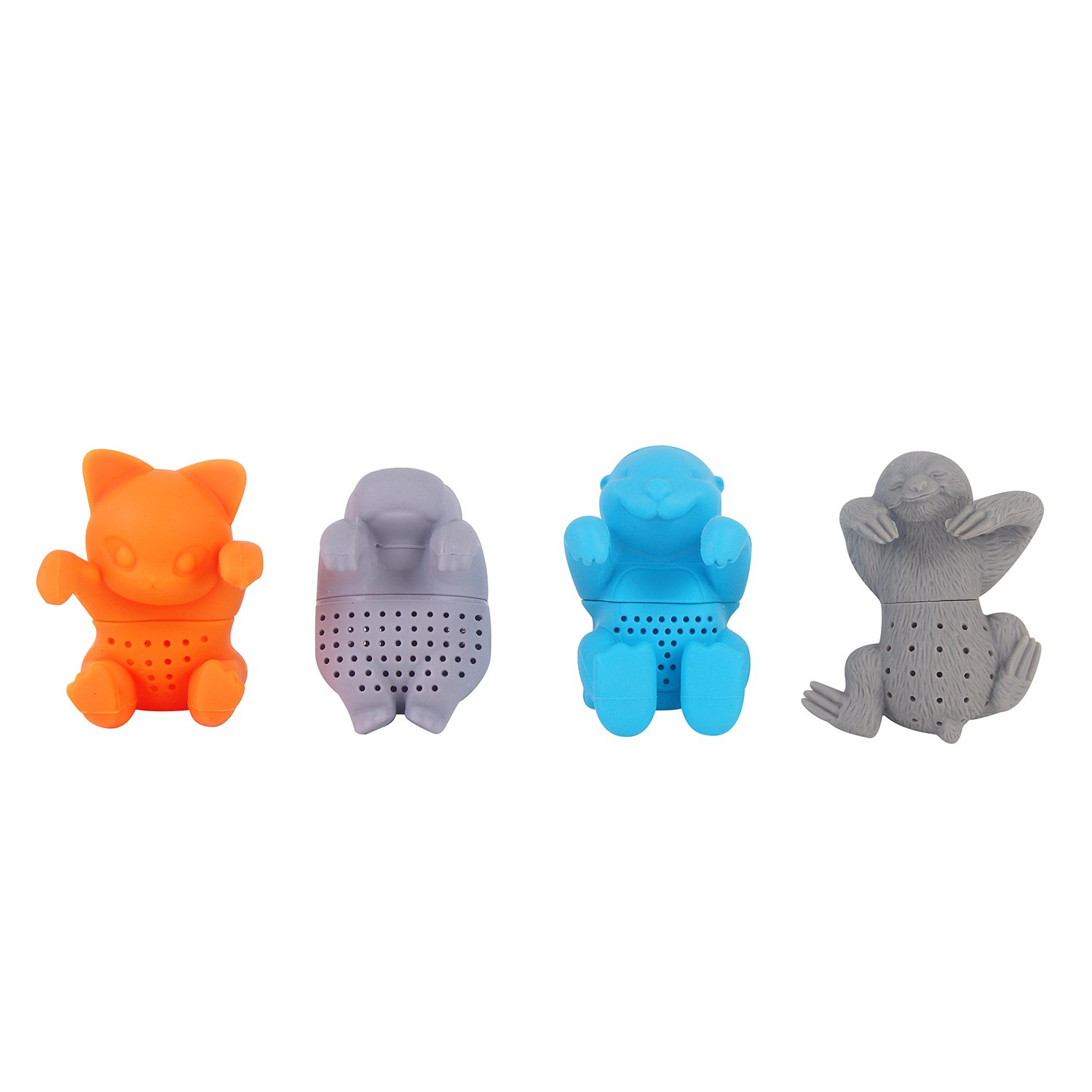 Tea infuser herbal tea filter strainer silicone Hippo Otter Sloth Cat shape tea infuser for loose tea leaves