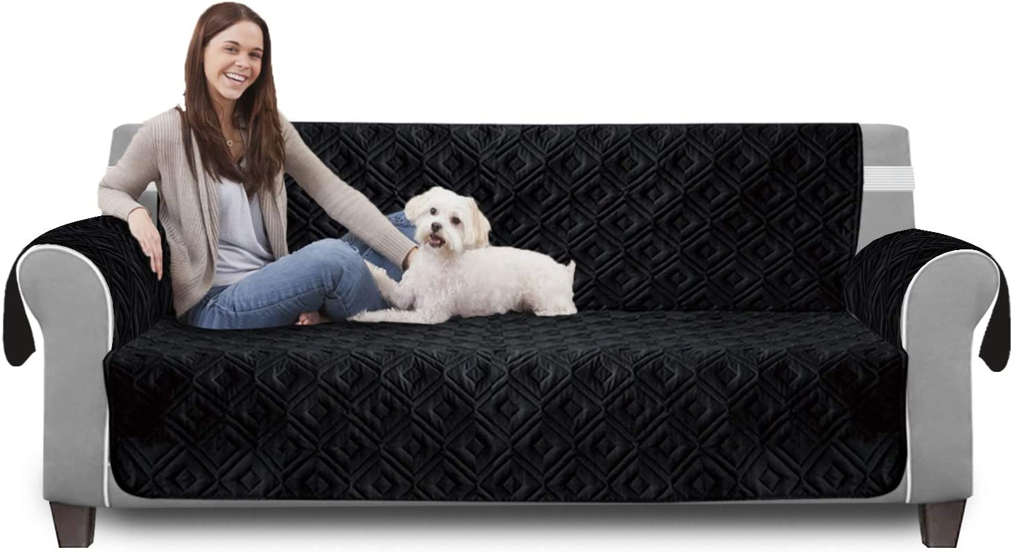 Hafaa Quilted Waterproof Sofa Slip Cover Protector for Furniture and Kids Anti Slip Beige, 2 Seater