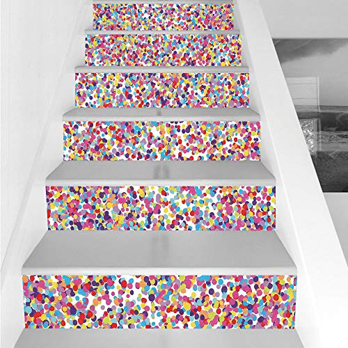 Stair Stickers Wall Stickers,6 PCS Self-adhesive,Fiesta,Round Rainbow Colored Confetti Pattern Celebratory Festive Illustration Abstract,Multicolor,Stair Riser Decal for Living Room, Hall, Kids Room ()