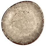 Melange 6-Piece 100 Percent Melamine Dinner Plate Set, Rustic Egg Collection, Cement
