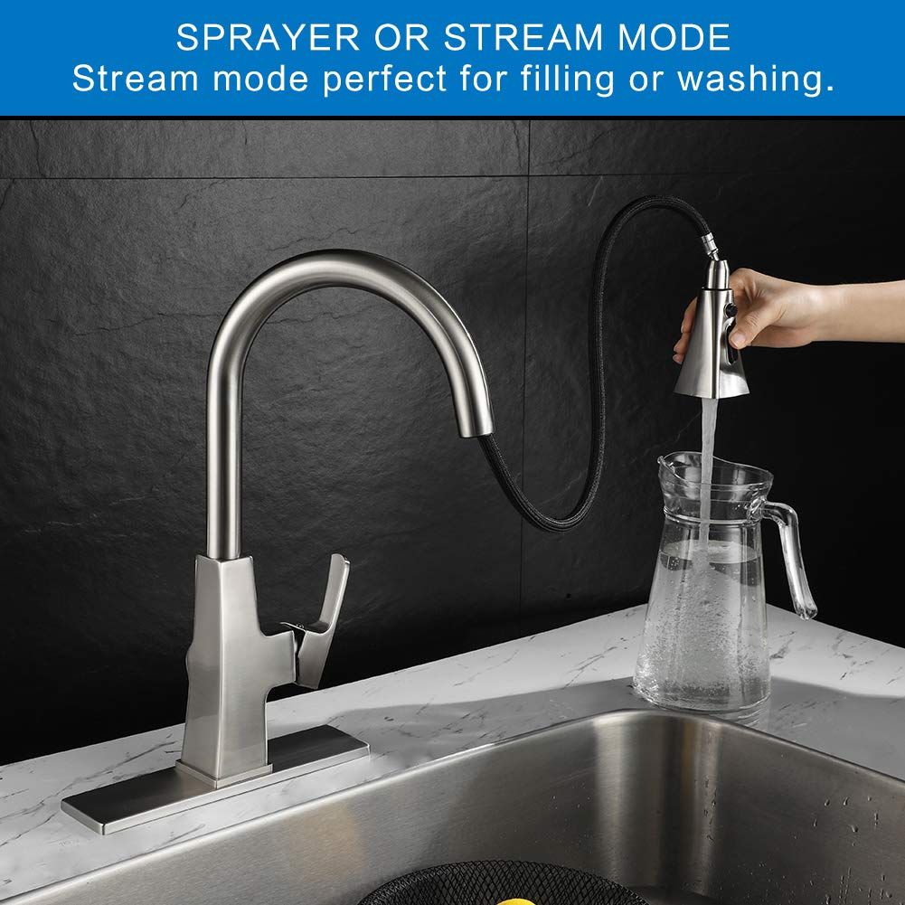 Kitchen sink faucet-Arofa A03LY single handle brushed nickel stainless steel gooseneck kitchen faucets with pull down sprayer by Arofa (Image #5)