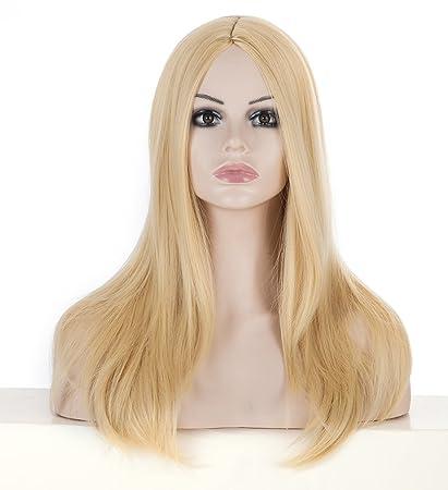 Peluca rubia. Peluca Pelo rubio. Durable resistente al calor peluca sintética para uso diario