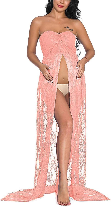 JENJON Mujer Embarazada Encaje Vestido de Fiesta Largos con Aberturas,Premamá Faldas Fotografía,Foto Shoot Dress de Maternidad