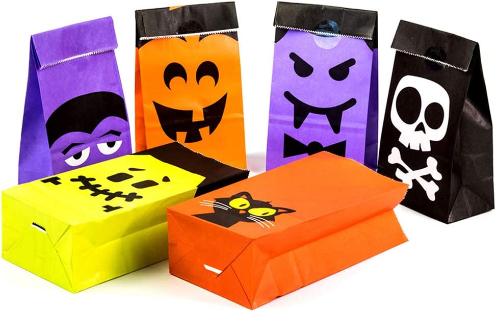 UNIQOOO 72Pcs Halloween Trick or Treat Gift Bags Bulk, Small 7x3½ x2 Inch, Food Safe Grade Paper Pastry Candy Cookie Goodie Bags, Haunted House Party Favor Decoration for Kids, 6 Designs w/Stickers