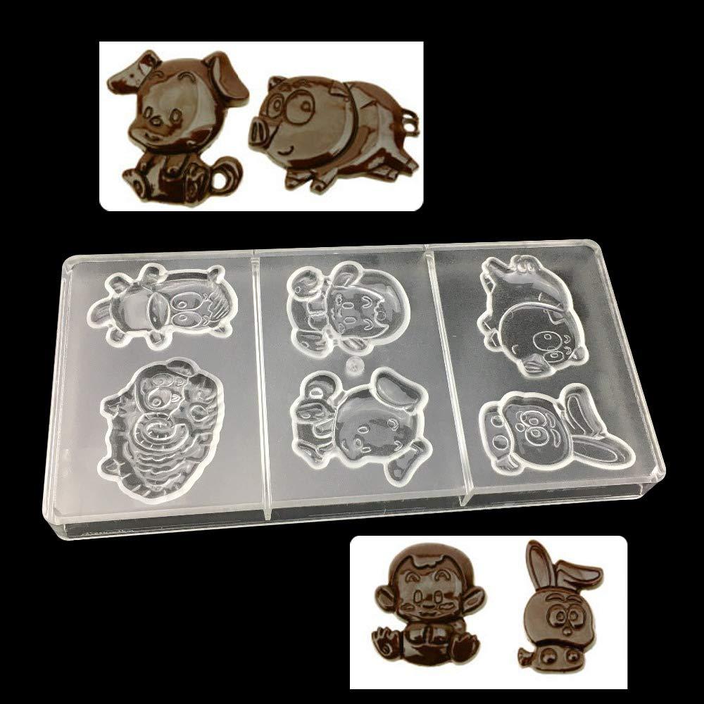 VT BigHome Cartoon Pig Monkey Rabit Zodiac Shape Chocolate Mold Food Grade Clear Polycarbonate Plastic Hard Mould Kitchen Baking Tools