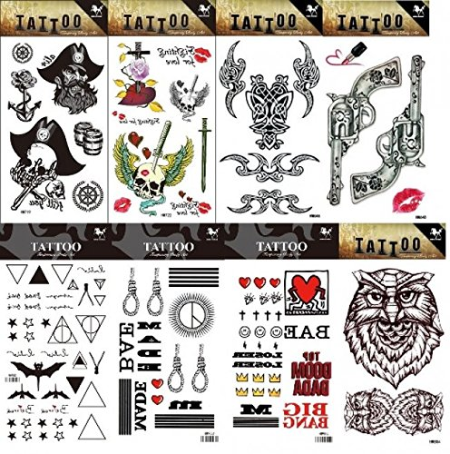 GGSELL GGSELL 8pcs different temporary tattoos designs in one package, it including skulls,totem,gun and owl tattoo stickers