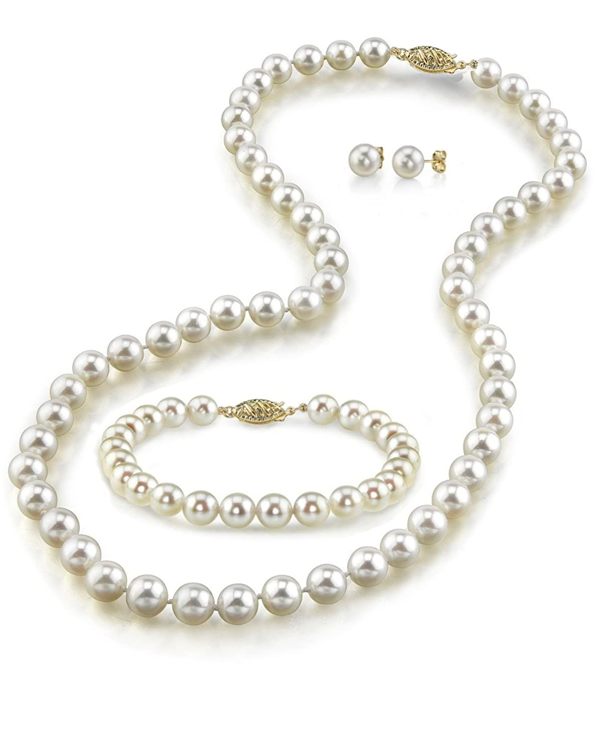 """14K Gold 9-10mm White Freshwater Cultured Pearl Necklace, Bracelet & Earrings Set, 16"""" - AAA Quality"""