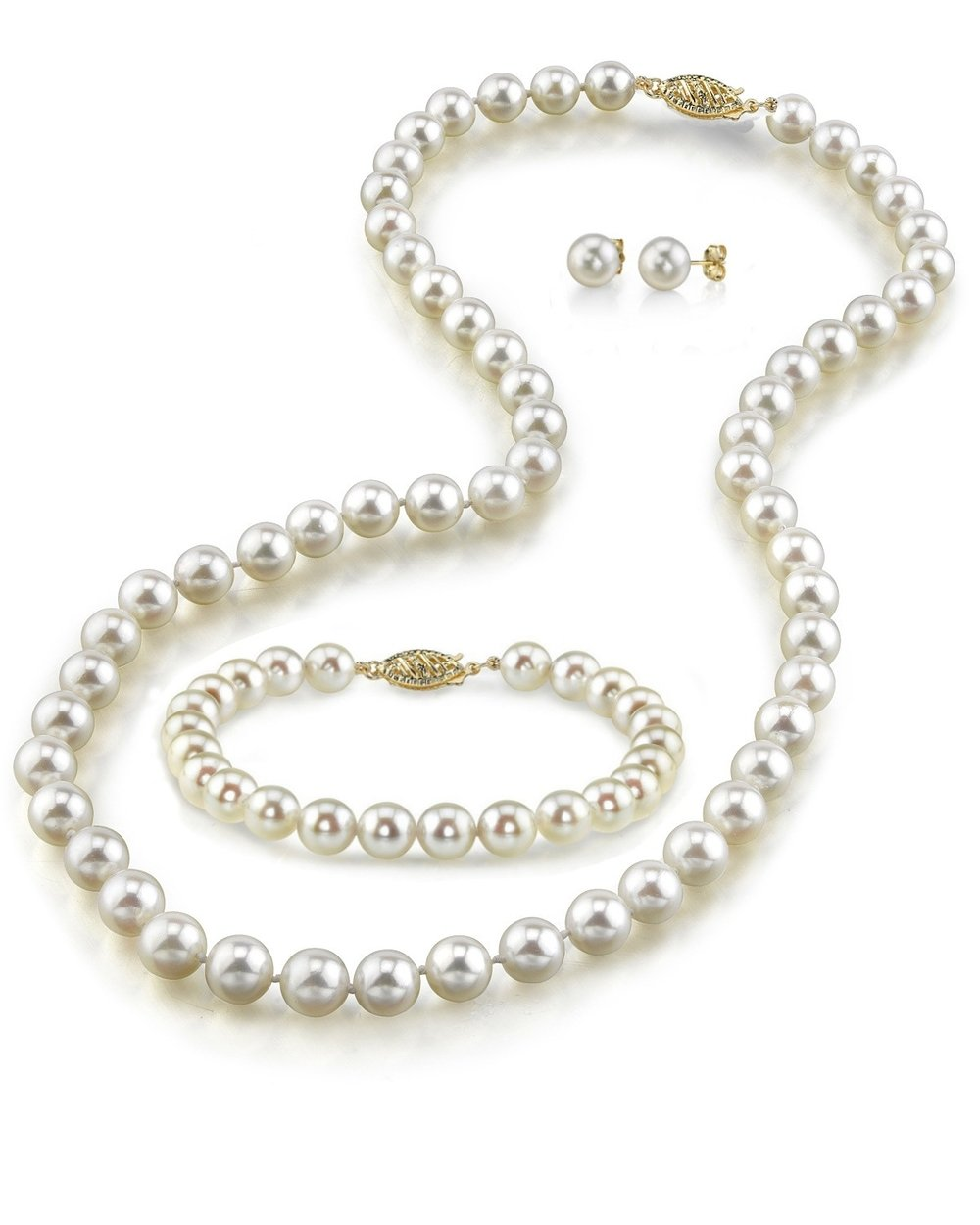 14K Gold White Freshwater Cultured Pearl Necklace, Bracelet & Earrings Set, 18'' - AAA Quality