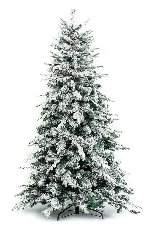 Albero Di Natale Stretto.Albero Di Natale Innevato Alaska 180 Cm Effetto Realistico