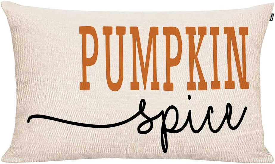 GTEXT 20x12 inch Farmhouse Pumpkin Spice Pillow Covers Long Cushion Cover Farm Decorative Couch Pillow Cases Cotton Linen Pillow Country Style