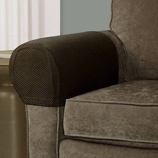 Pixel Stretch Fabric Furniture Armrest Cover Set Of 2 Costa Brown