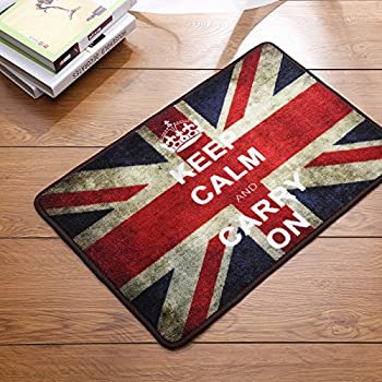 Sytian® Vintage Union Jack Rug Keep Calm And Carry On Carpet Soft Absorbent  Doormat Floormat Non Slip Bath Mat Bathroom Shower Rugs (British Style)