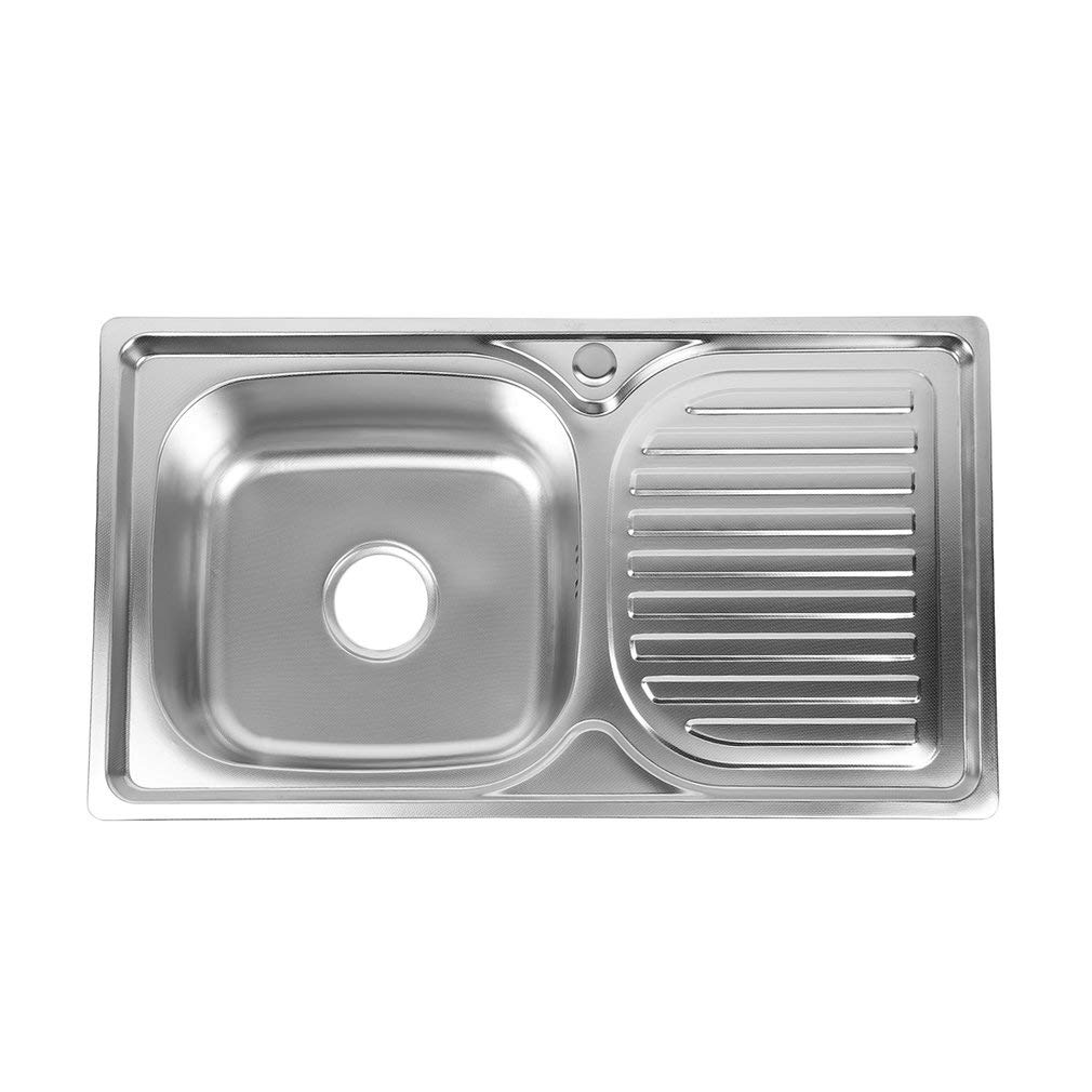 /Évier de cuisine 1 bac encastrable en acier inoxydable 76 x 42 x 18 cm