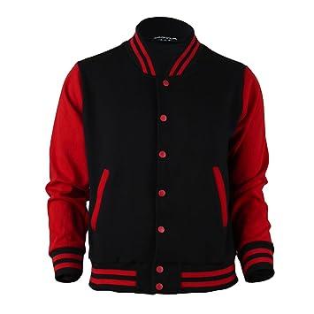 BCPOLO Men's Varsity Jacket Black-Red Baseball Jacket Letterman ...
