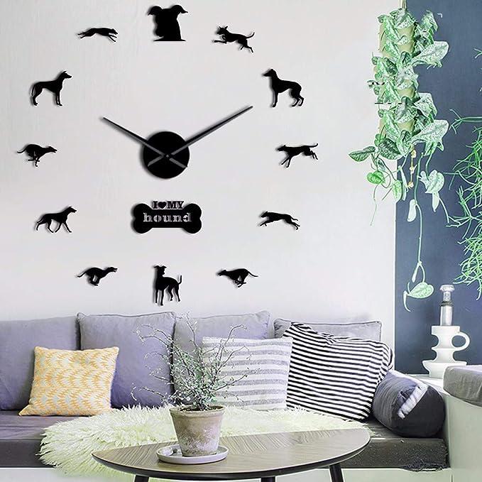 Amazon.com: LLLYZZ Greyhound Adopción Perro Pared Arte DIY Gigante Reloj De Pared Greyhound Casa Decoración De Perro, Perro Raza Exclusivo Reloj De Pared De ...
