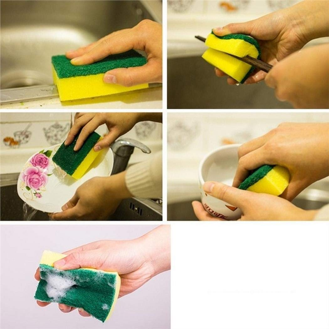 mekolen 10pcs Esponja para lavavajillas de Alta Densidad Absorción de Agua Suave Doble Capa Fuerte Cepillos de Esponja Cocina casera Cocina Algodón de Limpieza