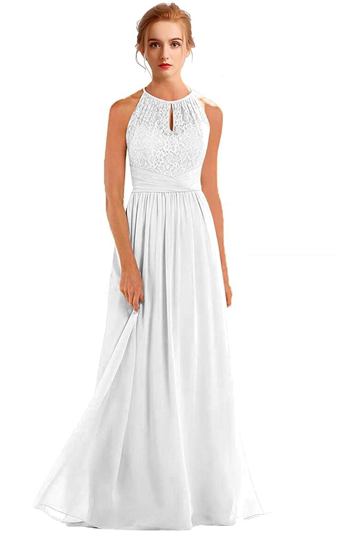 White VaniaDress Women Halter Sleeveless Long Evening Dress Formal Gowns V266LF