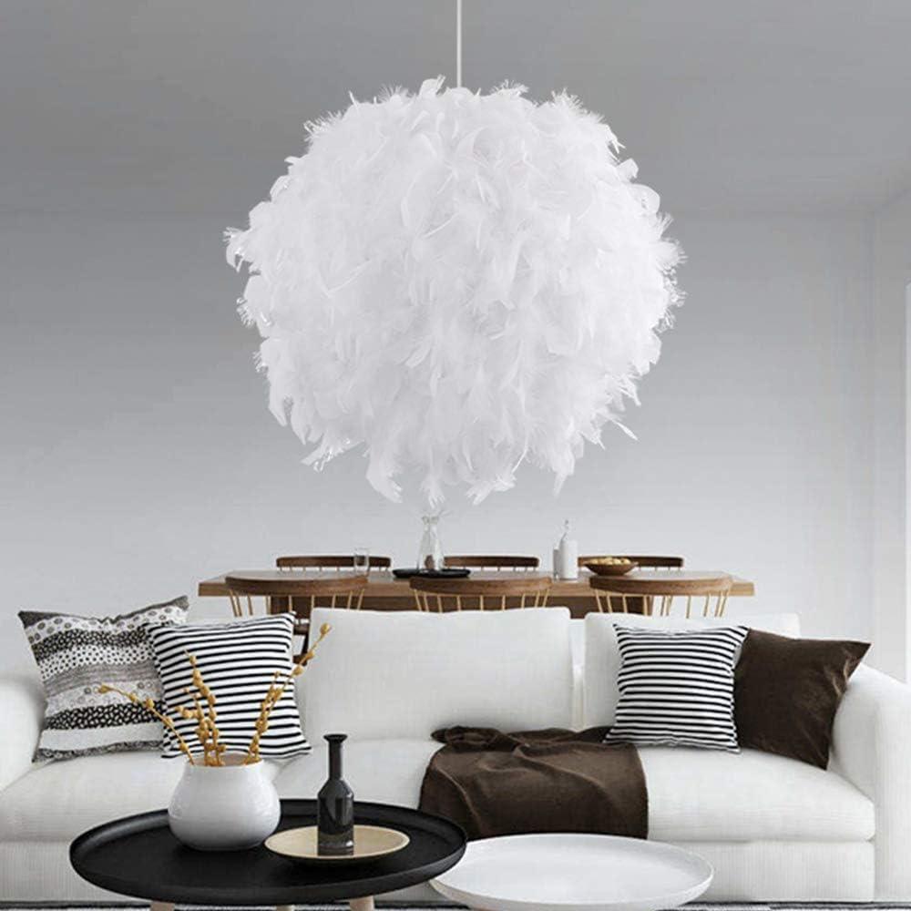 Plafonnier en plume avec ampoule E27 pour salon chambre /à coucher