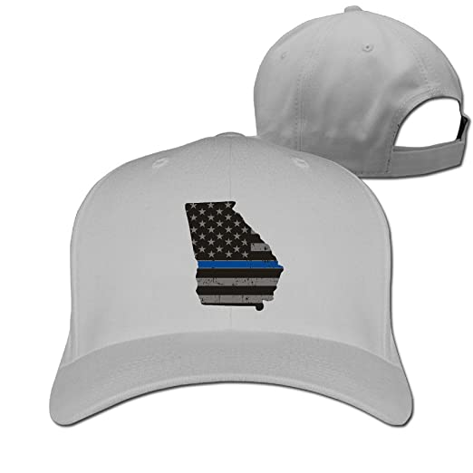 HDRAY Unisex Adult Thin Blue Line Flag Georgia State Plain Baseball Cap  Adjustable Snapback Hat Ash b739df7bafa
