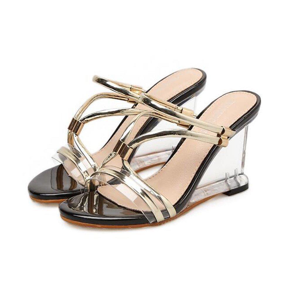 Angel love beauty Zapatillas de Tacón de Cuña para Mujer Sandalias de Tacón de Cristal Transparente Sandalias con Dos Métodos de Desgaste (Color : Gold, Size : 39 1/3 EU) 39 1/3 EU|Gold
